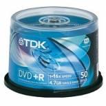 TDK DVD+R 16X 4.7GB / 10 x 50 CAKE BOX / FULL LOGO ( VAT inclusive )